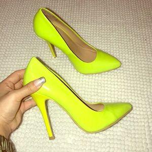 Shoes - Neon Yellow Lime Heels